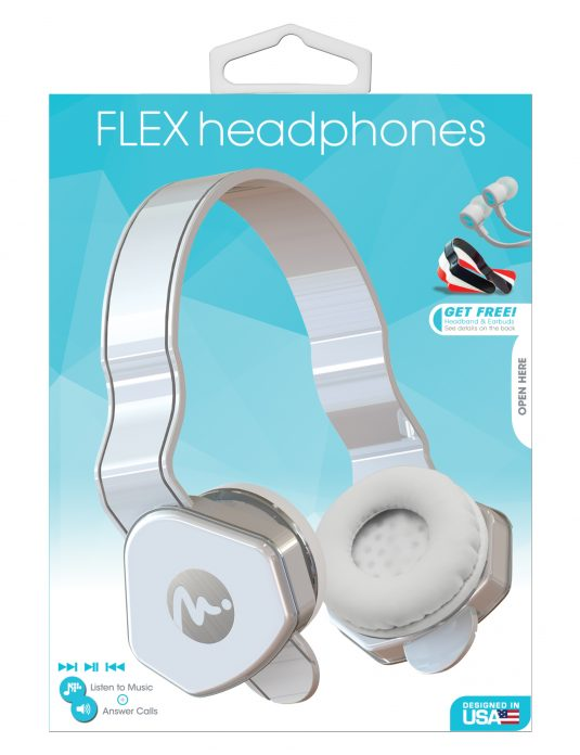 69023 - White Flex Headphones